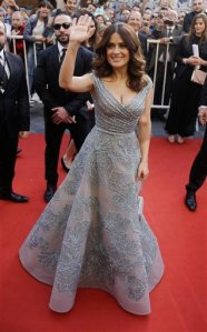 "Mexican and American actress Salma Hayek poses for photographers as she arrives to her international premiere film ""The Prophet,"" an animated feature film she co-produced, in Beirut, Lebanon, Monday, April 27, 2015. Hayek is in Lebanon for the film, written and directed by Roger Allers, the maker of the Disney production The Lion King. The film tells the story of a young girl who finds the voice she lost through her friendship with a poet imprisoned for his ideas. (AP Photo/Hassan Ammar)"