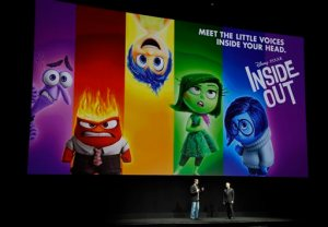 "Pete Docter, left, director and co-writer of the upcoming film ""Inside Out,"" and producer Jonas Rivera introduce a screening of the film during the Walt Disney Studios presentation at CinemaCon 2015 at Caesars Palace on Wednesday, April 22, 2015, in Las Vegas. (Photo by Chris Pizzello/Invision/AP)"