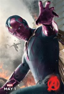 """In this photo provided by Disney/Marvel, Paul Bettany appears as Vision in the poster art for the film, """"Avengers: Age of Ultron."""" After five years of voicing Tony Stark's soothing operating system sidekick J.A.R.V.I.S. in the previous """"Avengers"""" and """"Iron Man"""" films, Bettany's role as the purple-skinned Vision marks the first time in front of the cameras in a Marvel film for the lanky British actor best known for starring in such films as """"Wimbeldon,"""" """"The Da Vinci Code"""" and """"Priest."""" (Disney/Marvel via AP)"""