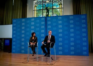 Columbia University Academic Dean Sheila Coronel, left, and Columbia University Dean Steve Coll, attend a news conference to discuss findings of a report conducted at the Columbia School of Journalism surrounding Rolling Stone magazine's expose of what it called a culture of sex assaults at the University of Virginia, Monday, April 6, 2015, in New York. Rolling Stone has officially retracted the story. (AP Photo/Craig Ruttle)