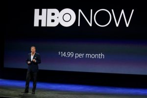 """FILE - In this March 9, 2015 file photo, Richard Plepler, CEO of HBO, talks about HBO Now for Apple TV during an Apple event in San Francisco.  Like HBO Go, the app that cable and satellite TV subscribers have, HBO Now gives you instant access to new TV episodes and movies, along with programs from months and years ago. You don't need a cable TV package to watch hit shows such as """"Game of Thrones"""" and """"Girls."""" (AP Photo/Eric Risberg, File)"""
