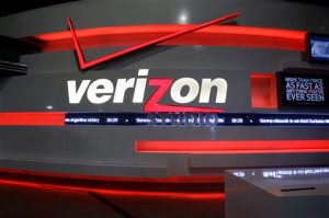 FILE - This April 7, 2013 photo shows the Verizon Studio booth at MetLife Stadium, in East Rutherford, N.J. ESPN is objecting to how Verizon is giving its FiOS TV customers more choice. In new plans that went into effect Sunday, April 19, 2015. Verizon made the ESPN and ESPN2 sports channels optional, but ESPN says its contracts with Verizon prohibit the channels from being in a separate sports package.(AP Photo/Mel Evans)