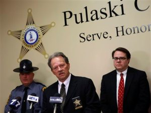 From left; Virginia State Police Lt. Ed Murphy, Pulaski County Sheriff Jim Davis, Pulaski County Commonwealth Attorney, Mike Fleenor, during a press conference in Pulaski Va. Thursday, April 2 2015. Ashley Jennifer White and Paul Thomas, the parents of five-year-old Noah Thomas were arrested and charged with felony child abuse and neglect Thursday in relation to the boy's death.  (AP Photo/The Roanoke Times, Matt Gentry)  LOCAL TELEVISION OUT; SALEM TIMES REGISTER OUT; FINCASTLE HERALD OUT;  CHRISTIANBURG NEWS MESSENGER OUT; RADFORD NEWS JOURNAL OUT; ROANOKE STAR SENTINEL OUT