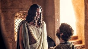 """In this image released by NBC, Juan Pablo Di Pace portrays Jesus, left, and Johannes Haukur Johannesson portrays Thomas in a scene from """"A.D. The Bible Continues."""" The first of the 10 episodes airs on Easter, picking up where its predecessor, the wildly popular """"The Bible"""" series from the History Channel left off and going on to tell the story of what happened to Christ's disciples after the crucifixion. (AP Photo/LightWorkers Media/NBC, Joe Alblas)"""