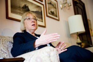 """In this photo taken April 23, 2015, Sen. Patty Murray, D-Wash. speaks during an interview with The Associated Press in her office on Capitol Hill.  There's a disturbance in the force of the tradition-bound Senate and her name is Patty Murray. The Washington state Democrat, once famously dubbed """"just a mom in tennis shoes,"""" is the reason behind an uncomfortable power standoff between two men who intend to lead the Democrats after Minority Leader Harry Reid retires. Murray, her quiet style and her clout amassed over 22 years in the Senate, poses a challenge to the way things work in Washington. She's poised to be the first woman in the Senate's top-tier leadership. And she's outgrown her image as the ultimate underdog, if not the mom in storied footwear. (AP Photo/Andrew Harnik)"""