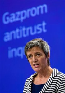 European Commissioner for Competition Margrethe Vestager speaks during a media conference at EU headquarters in Brussels on Wednesday, April 22, 2015. The European Union on Wednesday opened an antitrust case against Russia's state-controlled Gazprom energy giant amid worsening relations between Brussels and Moscow. (AP Photo/Thierry Monasse)