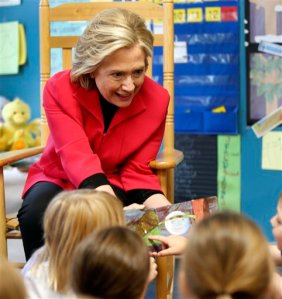 Democratic presidential candidate Hillary Rodham Clinton meets with a group of pre-schoolers during a campaign stop, Monday, June 15, 2015, in Rochester, N.H. (AP Photo/Jim Cole)