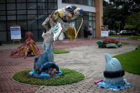 Brazil students make art out of trash plucked off Rio shore
