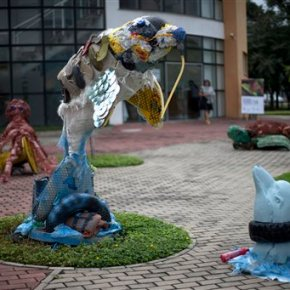 Brazil students make art out of trash plucked off Rioshore