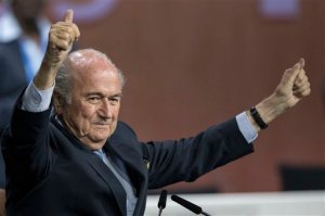FILE  - In this  Friday, May 29, 2015 file photo, FIFA president Sepp Blatter after his election as President at the Hallenstadion in Zurich, Switzerland. (Patrick B. Kraemer/Keystone via AP, File)