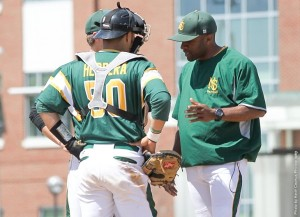 NSU Baseball coach Claude Clark during mound visit