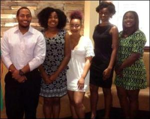 (From left) – HRBMP 2015 Scholarship Winners: Tykhari Coles, Kalynne Wilson, Ashanté Travis, Arriana McLymore and Alexis Platt (Not pictured are Morgan Golden and Alexis Whitted).