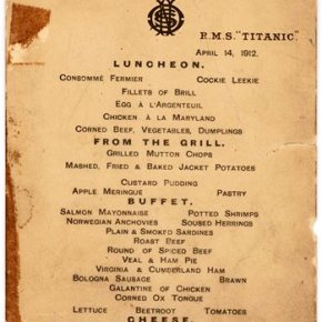 Last Titanic lunch menu, saved by survivor, going toauction