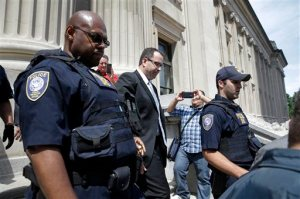 Former Subway pitchman Jared Fogle leaves the Federal Courthouse in Indianapolis, Wednesday, Aug. 19, 2015 following a hearing on child-pornography charges. Fogle agreed to plead guilty to allegations that he paid for sex acts with minors and received child pornography in a case that destroyed his career at the sandwich-shop chain and could send him to prison for more than a decade. (AP Photo/AJ Mast)