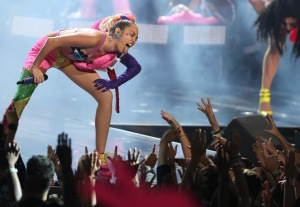 Miley Cyrus performs at the MTV Video Music Awards at the Microsoft Theater on Sunday, Aug. 30, 2015, in Los Angeles. (Photo by Matt Sayles/Invision/AP)
