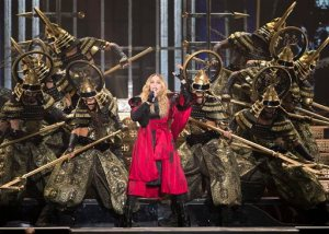 Madonna performs during the premiere of her Rebel Heart tour Wednesday, September 9, 2015 in Montreal.  (Ryan Remiorz/The Canadian Press via AP)