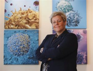 In this photo taken Tuesday, Sept. 8, 2015,  Cate Dyer, chief executive officer and founder of StemExpress, poses at the company's office in Placerville, Calif. StemExpress is a broker in human  tissue, which includes the fetal tissue that is at the heart of the Planned Parenthood video controversy.(AP Photo/Rich Pedroncelli)