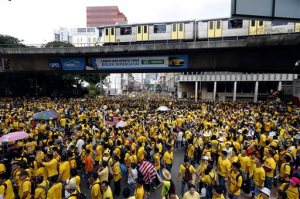"Protesters march at a rally organized by pro-democracy group ""Bersih"" (Clean) in Kuala Lumpur, Malaysia, Saturday, Aug. 29, 2015. Malaysian activists are putting more pressure on embattled Prime Minister Najib Razak to resign with major street rallies this weekend following allegations of suspicious money transfers into his accounts. (AP Photo/Lai Seng Sin)"