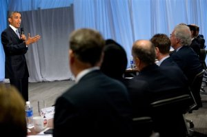 President Barack Obama speaks to business leaders at the quarterly meeting of the Business Roundtable in Washington, Wednesday, Sept. 16, 2015, to renew his calls for increased spending in infrastructure, education and scientific research. (AP Photo/Andrew Harnik)