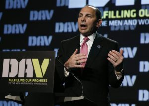 VA Secretary Robert McDonald speaks during the Disabled American Veterans convention in Denver, Monday Aug. 10, 2015. McDonald devoted his speech to discussing solutions to problems plaguing the VA's healthcare delivery operation, which have received much public attention recently. (AP Photo/Brennan Linsley)
