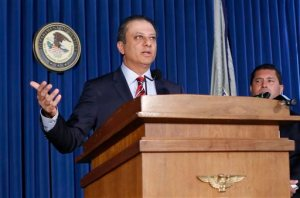 U.S. Attorney Preet Bharara speaks during a news conference at the U.S. Attorney's office in New York, Thursday, Sept. 17, 2015. The government and General Motors have reached a deal to resolve a criminal investigation into how the Detroit automaker concealed a deadly problem with small-car ignition switches. (AP Photo/Kathy Willens)