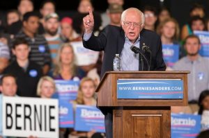 Democratic presidential candidate Sen. Bernie Sanders speaks during a rally at the Greensboro Coliseum Special Events Center in Greensboro, N.C., Sunday, Sept. 13, 2015. (AP Photo/Rob Brown)