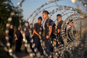 Hungarian policemen stand guard near to the Hungarian town of Roszke at the border with Serbia, on Wednesday Sept. 2, 2015. The 28-nation European Union has been at odds for months on how to deal with the influx of more than 332,000 migrants this year as Greece, Italy and Hungary have pleaded for more help. (AP Photo/Santi Palacios)