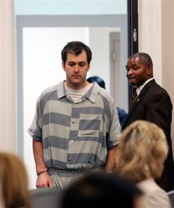 Former North Charleston police office Michael Slager, is lead into court, Thursday, Sept. 10, 2015 in Charleston, S.C. A judge reached no decision Thursday on whether to grant bail for Slager, a white former police officer charged with killing an unarmed black man following a traffic stop in coastal South Carolina. (Grace Beahm/The Post And Courier via AP) MANDATORY CREDIT
