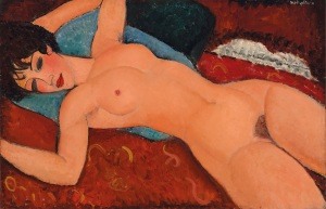 """This image provided by Christie's Images shows the painting """"Reclining Nude,"""" created in 1917 to 1918 by Amedeo Modigliani, that caused a scandal nearly a century ago. The painting is going on the auction block for the first time and will be the highlight of Christie's Nov. 9, 2015, sale in New York. (Courtesy of Christie's Images via AP)"""