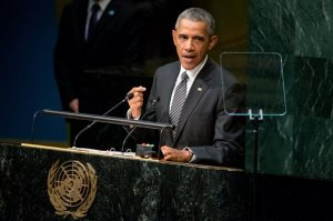 President Barack Obama speaks at the United Nations Sustainable Development Summit, Sunday, Sept. 27, 2015, at the United Nations headquarters. The global meeting is focused on fixing some of the world's greatest problems through a 15-year road map. (AP Photo/Andrew Harnik)