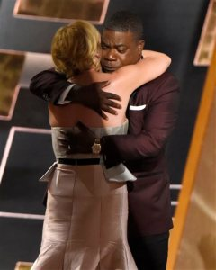 Tracy Morgan, right, and Jane Krakowski hug at the 67th Primetime Emmy Awards on Sunday, Sept. 20, 2015, at the Microsoft Theater in Los Angeles. (Photo by Chris Pizzello/Invision/AP)