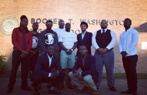 The League of Extraordinary Men from Norfolk State University greeted students at Booker T. Washington High School on Sept. 8. (Photo courtesy of The League of Extraordinary Men and used with permission)