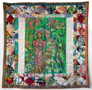 """In this undated photo provided by Swann Auction Galleries, a 1989 acrylic on canvas with pieced fabric border by Faith Ringgold entitled """"Maya's Quilt of Life"""" i shown. The work was included in the collection of celebrated writer and civil rights activist Maya Angelou that sold for $1.3 million by Swann in New York on Tuesday, Sept. 15, 2015. (Swann Auction Galleries via AP)"""