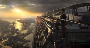 "In this image released by Sony Pictures, Joseph Gordon-Levitt portrays Philippe Petite in a scene from, ""The Walk."" The film, about high-wire artist Phillippe Petit's cabled walk between the Twin Towers in 1974, opens the 53rd New York Film Festival on Saturday.  (Sony Pictures via AP)"