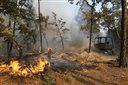 Firefighters work with heavy machinery to contain the fire near Smithville, Texas, Wednesday, Oct. 14, 2015. The Texas A&M Forest Service says challenging topography and uncontrolled fire lines has slashed the containment of the Bastrop County fire to 10 percent as night fell Wednesday. The Forest Service had estimated 50 percent containment earlier Wednesday. (Rodolfo Gonzalez/Austin American-Statesman via AP) AUSTIN CHRONICLE OUT, COMMUNITY IMPACT OUT, INTERNET AND TV MUST CREDIT PHOTOGRAPHER AND STATESMAN.COM, MAGS OUT; MANDATORY CREDIT
