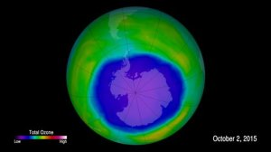 This image provided by NOAA shows the ozone hole. The Antarctic ozone hole has swelled this month to one of its biggest sizes on record, U.N. and U.S. scientists say, insisting that the Earth-shielding ozone layer remains on track to long-term recovery but residents of the southern hemisphere should be on watch for high UV levels in the weeks ahead. (NOAA via AP)