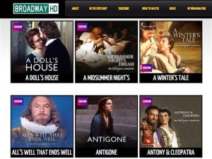 This screen image provided by BroadwayHD shows the home page for the new online streaming service offering high-definition broadcasts of top theatrical events to computers and phones. The service is scheduled to launch Monday, Oct. 26, 2015. (BroadwayHD via AP)