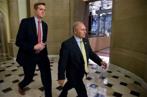 House Majority Whip Steve Scalise of La., center, leaves the offices of Speaker of the House John Boehner shortly before the House approved a stopgap spending bill to keep the federal government open, Wednesday, Sept. 30, 2015, on Capitol Hill in Washington. Just hours before a midnight deadline, a bitterly divided Congress approved the stopgap spending bill to keep the federal government open, but with no assurance there won't be yet another shutdown showdown in December.  (AP Photo/Andrew Harnik)