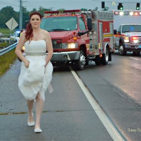 Paramedic in wedding dress works crash on way to reception