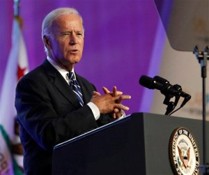 FILE - In this Sept. 16, 2015 file photo, Vice President Joe Biden speaks in Anaheim, Calif.  Biden's summer of uncertainty is turning into a fall of indecision, creating doubts about whether he could still be a serious candidate for president in 2016.  (AP Photo/Christine Cotter, File)