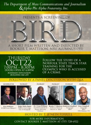 """Bird"" and wrongful imprisonment discussion on Norfolk State campus Oct. 22"