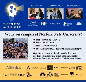 The Creative Mind Group will be on the campus of Norfolk State University on Monday, Nov. 2, from 12 noon to 1 p.m. in room 156 of Madison Hall. The event is sponsored by Norfolk State's nationally-accredited Dept. of Mass Communications and Journalism.