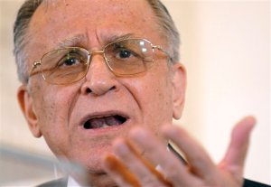 FILE - In this Thursday, May 17, 2007 file photo,  former Romanian President Ion Iliescu gestures during a meeting with foreign media in Bucharest, Romania. Iliescu, 85, appeared Wednesday, Oct. 21, 2015 before Romania's top court, which is prosecuting him for crimes against humanity during a bloody anti-government protest 25 years ago, to hear charges connected to the violent repression of the June 1990 protest.(AP Photo/Vadim Ghirda, File)