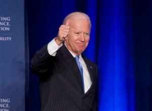 In this Sept. 22, 2015, photo, Vice President Joe Biden gives a 'thumbs-up' after speaking at the White House Initiative on Historically Black Colleges and Universities' (HBCU) National HBCU Week annual conference in Washington. The Human Rights Campaign says Biden will be the keynote speaker for its annual dinner. The national gay rights group is hosting the dinner Oct. 3 in Washington. The speech is a major opportunity for Biden to demonstrate his support among LGBT voters. Biden is considering running for president in 2016 but hasn't announced a decision. (AP Photo/Pablo Martinez Monsivais)