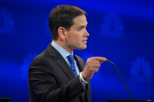 Marco Rubio makes a point during the CNBC Republican presidential debate at the University of Colorado, Wednesday, Oct. 28, 2015, in Boulder, Colo. (AP Photo/Mark J. Terrill)