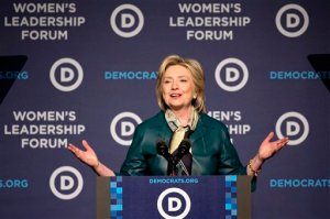 Democratic presidential candidate, former Secretary of State Hillary Rodham Clinton speaks to the Democratic National Committee 22nd Annual Women's Leadership Forum National Issues Conference in Washington, Friday, Oct. 23, 2015. (AP Photo/Jacquelyn Martin)