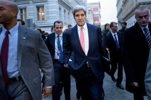 Secretary of State John Kerry walks to the Hotel Bristol in Vienna, Austria, Thursday, Oct. 29, 2015, for a meeting with the Iranian Foreign Minister Javad Zarif. Kerry and other leaders are in Vienna to discuss solutions to the conflict in Syria. (Brendan Smialowski/Pool via AP)