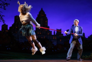 """In this image released by Jeffrey Richards Associates, Annaleigh Ashford, left, and Matthew Broderick appear during a performance of """"Sylvia,"""" in New York. (Joan Marcus/Jeffrey Richards Associates via AP)"""