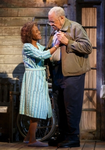 """In this image released by Boneau/Bryan-Brown, James Earl Jones, left, and Cicely Tyson appear during a performance of """"The Gin Game,"""" playing through January 10,  at the Golden Theatre in New York. (Joan Marcus/Boneau/Bryan-Brown via AP)"""