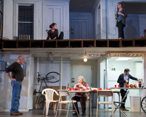 """This image released by Polk & Co. shows, Sarah Steele, clockwise from top, Cassie Beck, Arian Moayed, Jayne Houdyshell and Reed Birney, during a performance of """"The Humans"""" at the Roundabout at Laura Pels Theatre in New York. (Joan Marcus/Polk & Co. via AP)"""